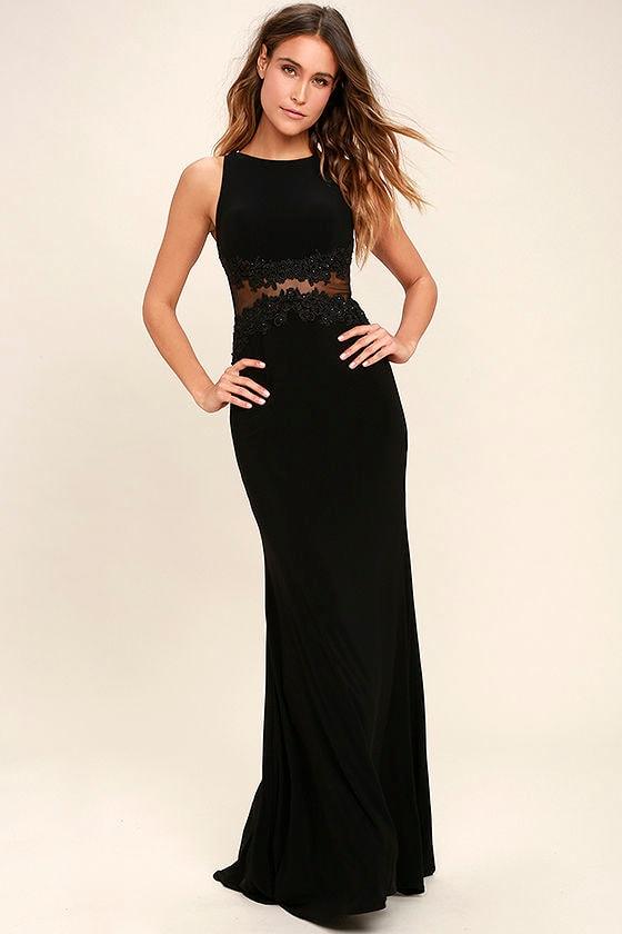 Stunning Black Dress - Lace Maxi Dress - Mesh Maxi Dress - Formal Dress