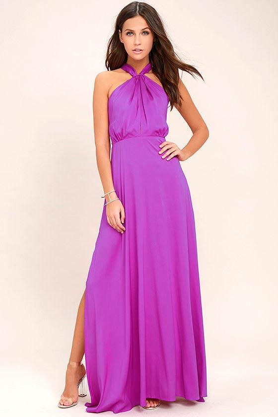 Lovely Purple Dress Maxi Dress Halter Dress Gown 7400