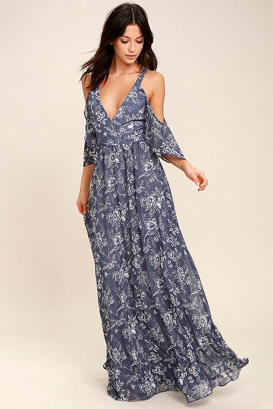 Lovely Denim Blue Dress Floral Print Dress Maxi Dress 9400