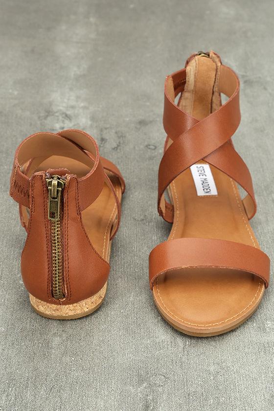 Steve Madden Halley Cognac Sandals Genuine Leather