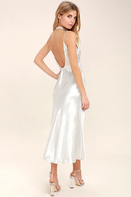Lovely White Dress Midi Dress Slip Dress Satin Slip