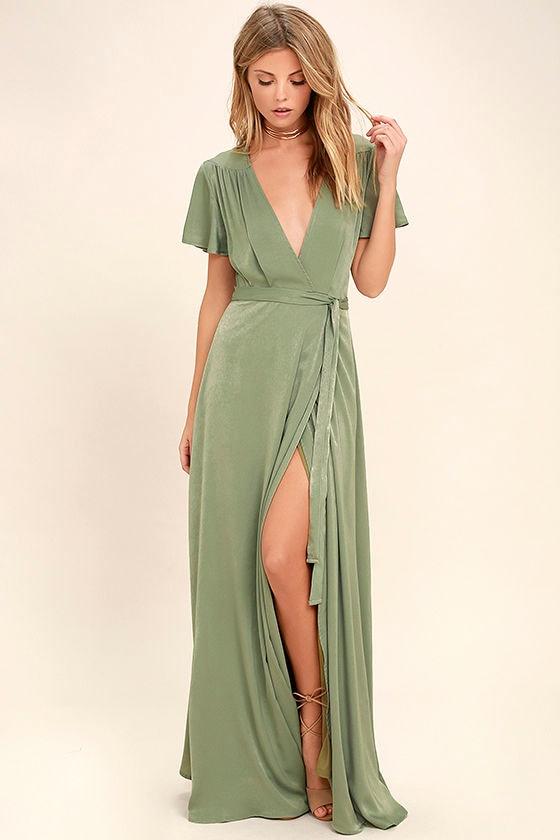 Lovely Sage Green Dress Maxi Dress Wrap Dress 6900