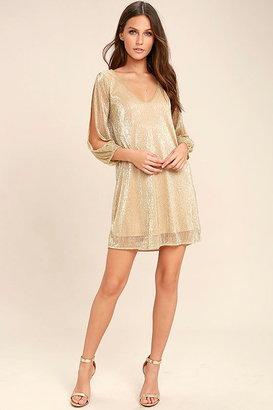 Stunning Gold Dress Metallic Dress Shift Dress Long Sleeve