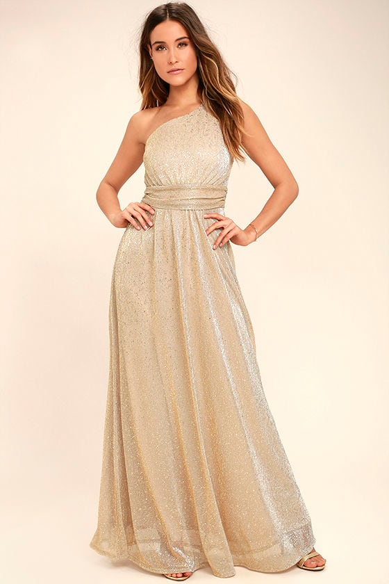 Lovely Gold Dress - One-Shoulder Dress - Maxi Dress