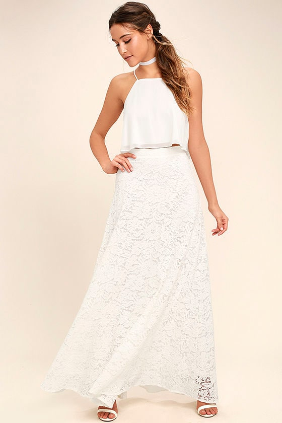 Stunning White Two-Piece Dress - Lace Two-Piece Dress - Two-Piece ...