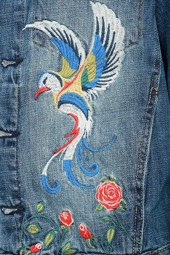 Blank Nyc Wild Child Denim Jacket Embroidered Jacket 14800