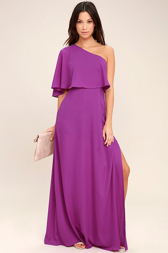 Lovely Magenta Dress - One-Shoulder Dress - Maxi Dress - $72.00