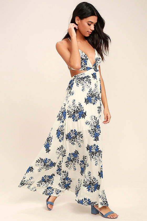 Lovely floral print maxi dress cutout maxi backless maxi 6400 perfect memory white floral print maxi dress mightylinksfo