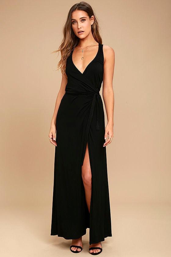 Lovely Black Maxi Dress - Sleeveless Wrap Dress - Wrap Maxi Dress ...