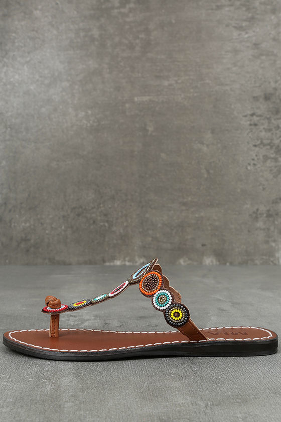 0bfe1ce0f881f0 ... Mia Apache Brown Bright Multi Beaded Thong Sandals reasonably priced  cff34 56fa3 ...