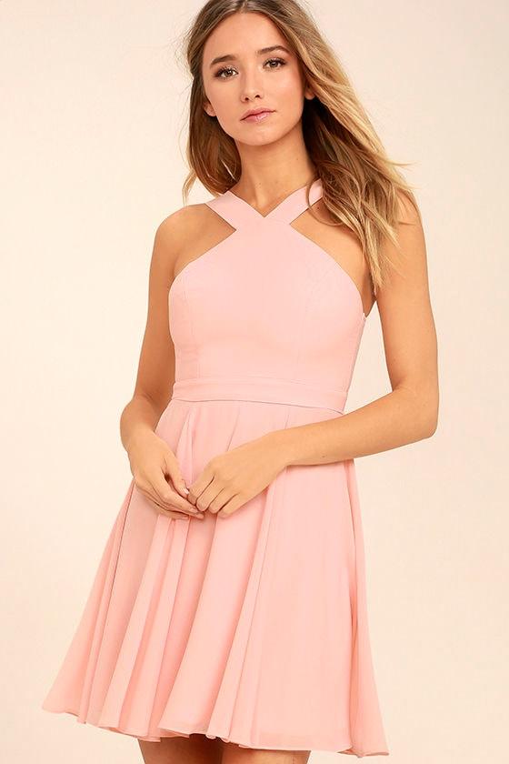 Lovely Light Pink Dress - Halter Dress - Skater Dress ...
