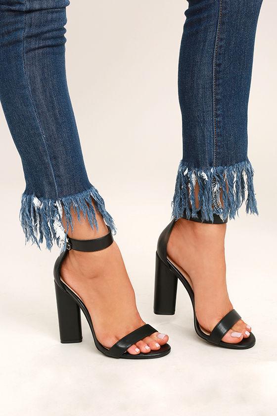 Ankle Strap Chunky Heel Chic Sandals - BLACK Buy Online Outlet Pre Order Cheap Price TmRBak1
