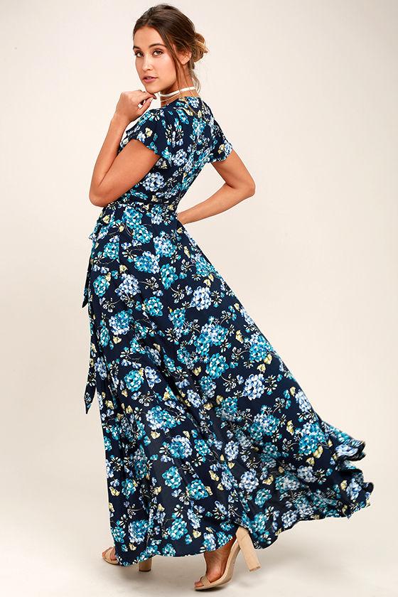 Lovely Navy Blue Floral Print Dress Wrap Dress Maxi
