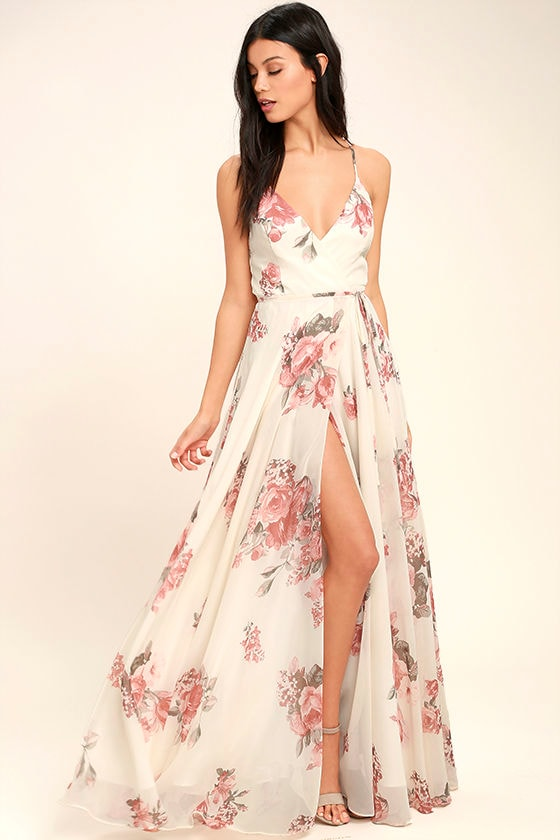 ELEGANTLY INCLINED CREAM FLORAL PRINT WRAP MAXI DRESS LULUS