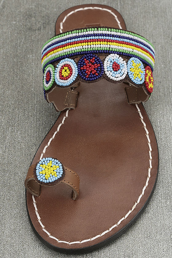 Mia Athens Bml Bright Multi Brown Beaded Sandals Toe