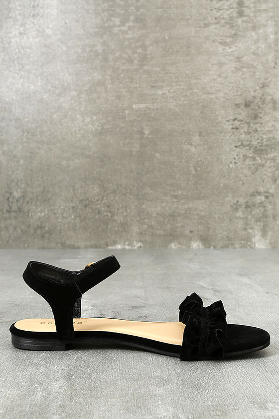 Fabienne Black Velvet Flat Sandals
