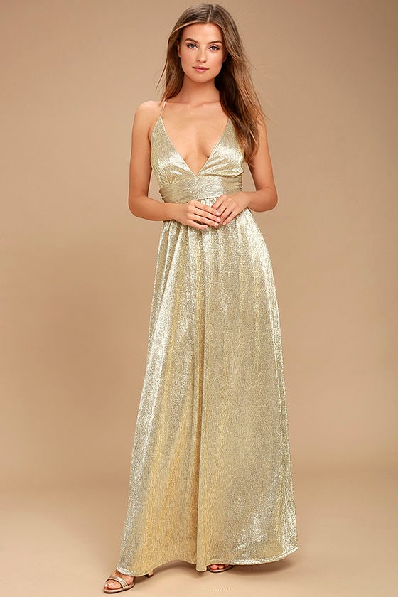 Sexy Gold Dress Maxi Dress Gold Gown Formal Gown 11600