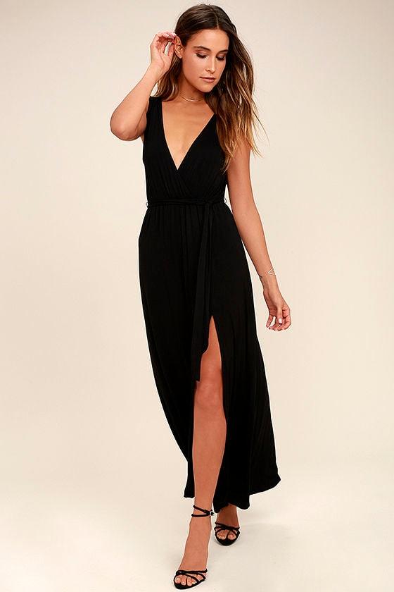 Comfy Black Dress Maxi Dress Sundress 5700
