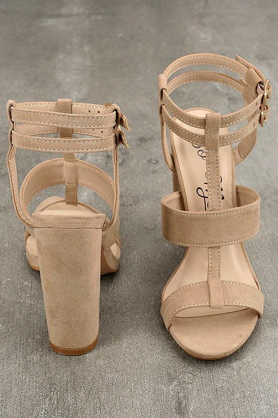 Strappy Nude Heels - Vegan Suede Heels - Ankle Strap Heels