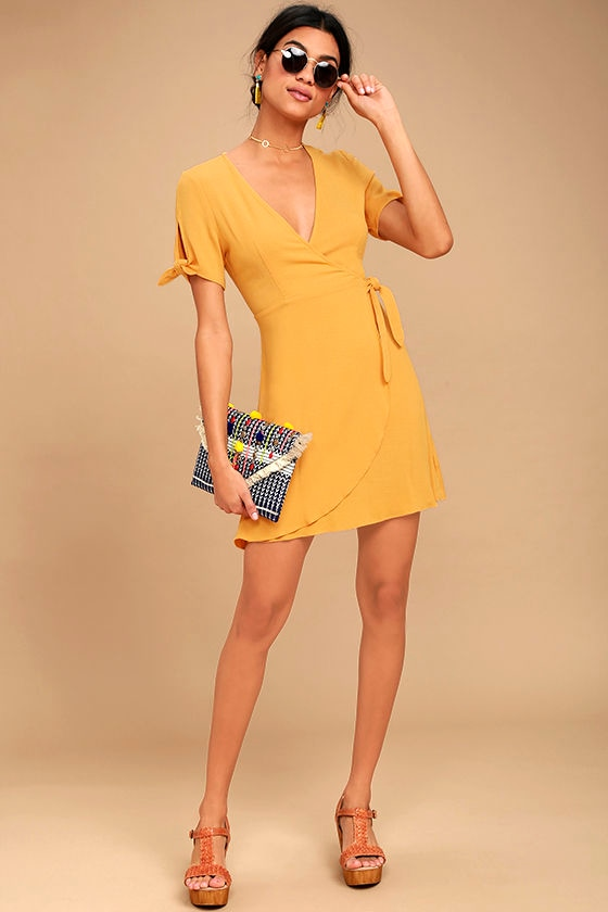 High Quality My Philosophy Golden Yellow Wrap Dress 2