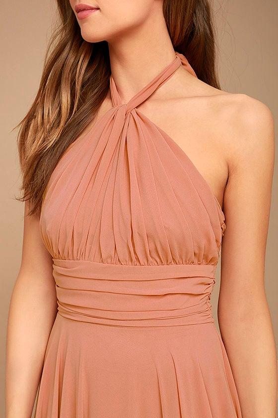Elegant Rusty Rose Dress Maxi Dress Halter Dress