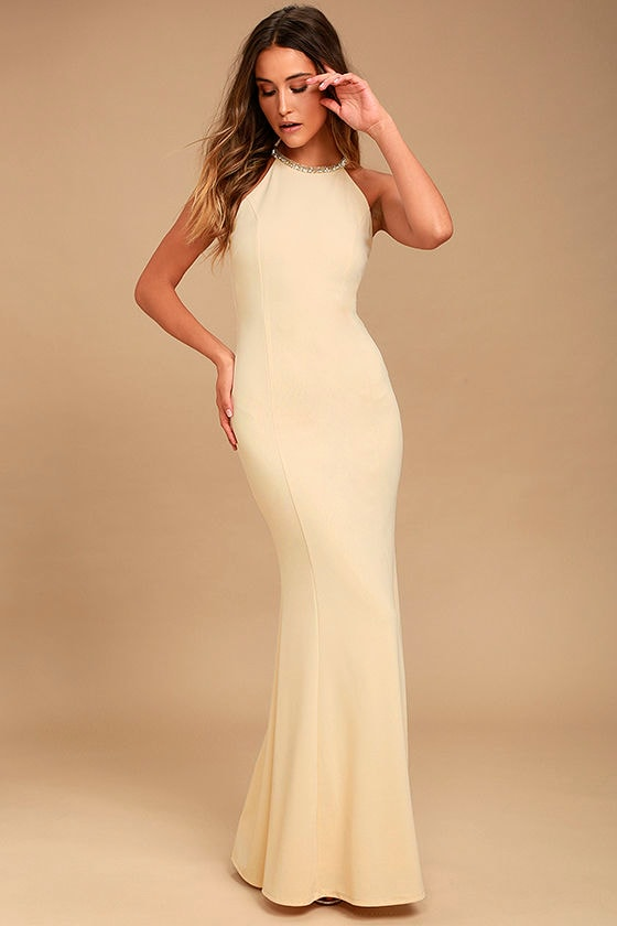 Lovely Light Beige Dress - Beaded Dress - Maxi Dress - $78.00