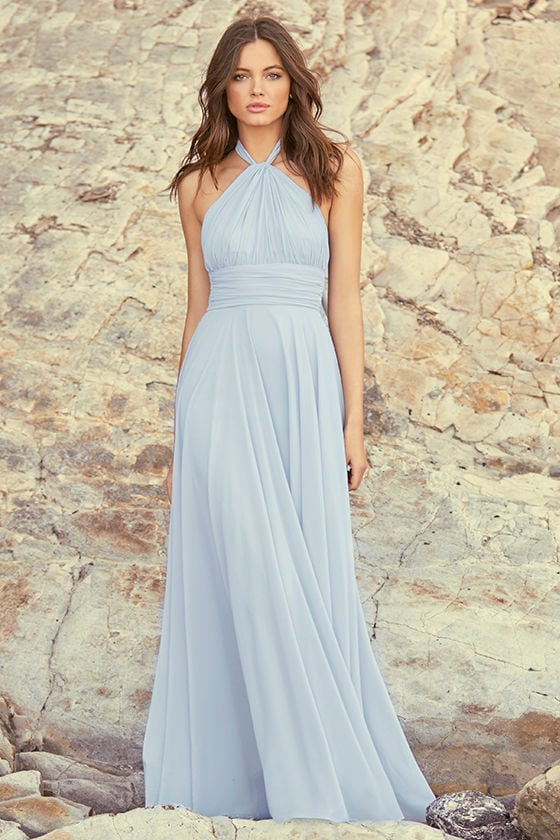 Elegant Blue Grey Dress - Maxi Dress - Halter Dress - Halter Maxi ...
