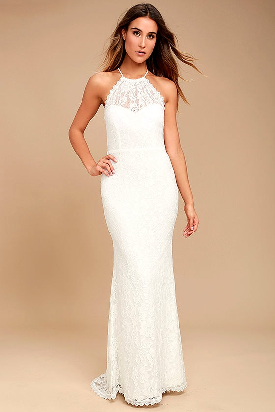 Lovely White Dress - Maxi Dress - Lace Dress - Halter Dress