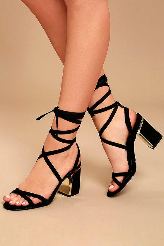 Chic Black Heels Vegan Suede Heels Lace Up Heels 38 00