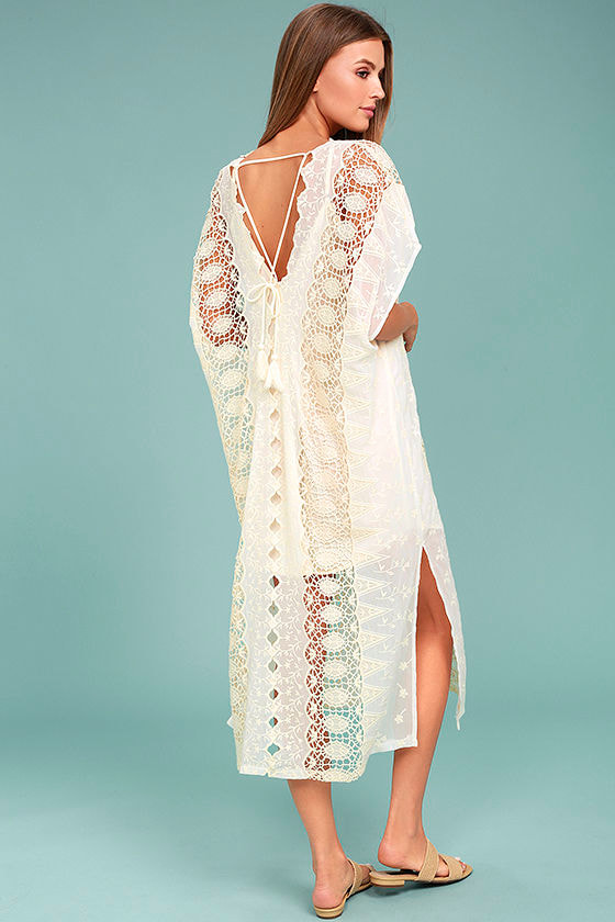ASTR the Label Juliana - Cream Dress - Lace Dress - Kaftan Dress