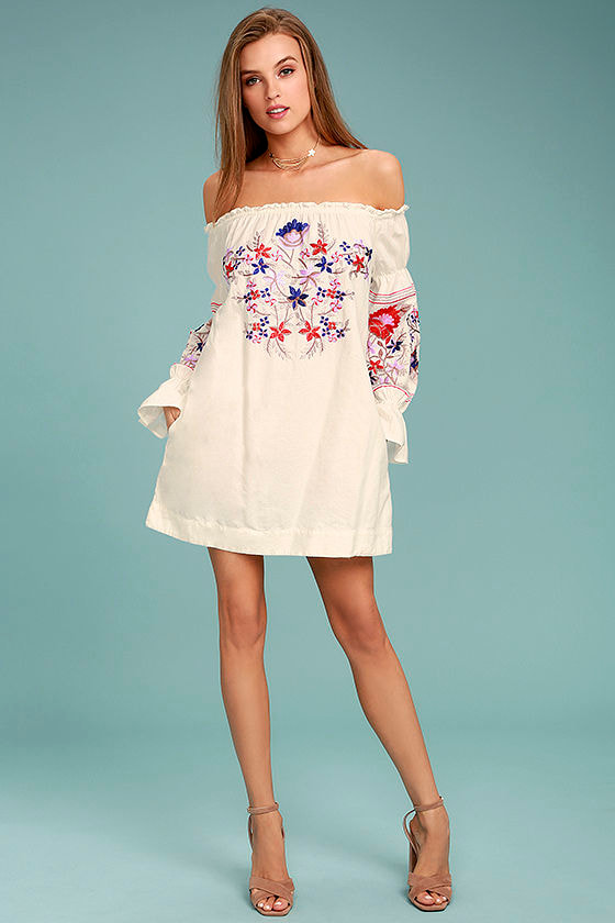 Free People Fleur Du Jour - Cream Shift Dress - Embroidered Dress ...