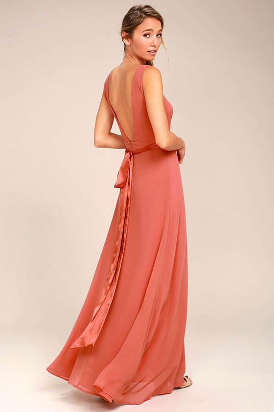 Stunning Rusty Rose Maxi Dress - Backless Maxi Dress - Gown - $82.00