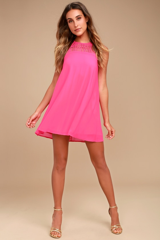 4c180eba44d1 Cute Fuchsia Dress - Swing Dress - Caged Dress