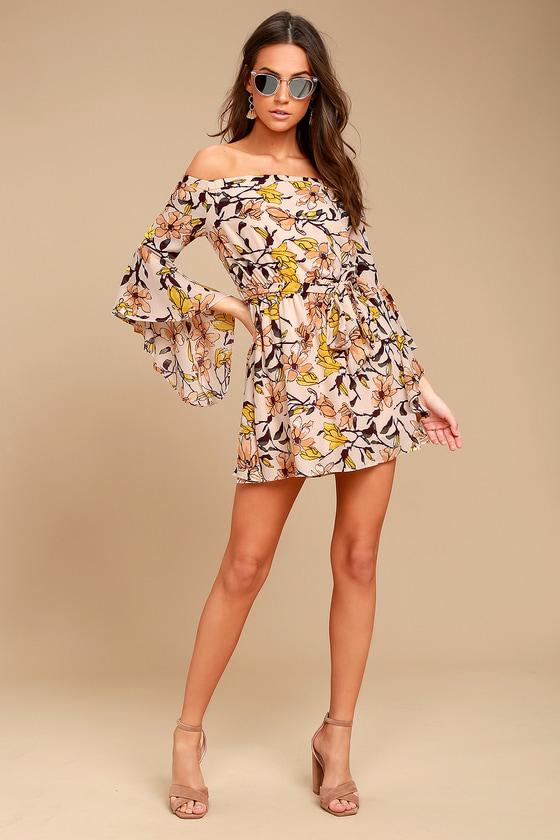 abd55eb3f837 Lovely Blush Floral Print Dress - Off-the-Shoulder Dress - Bell Sleeve Dress