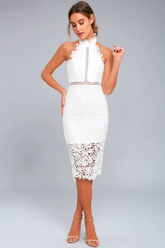 Stunning White Lace Dress Midi Dress Lace Halter Dress