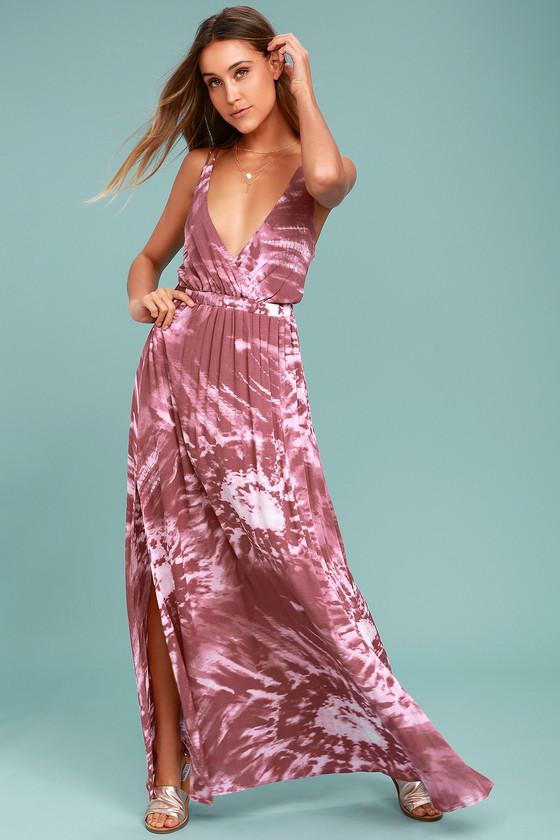 Boho Maxi Dress - Mauve Tie-Dye Dress - Casual Dress - $62.00