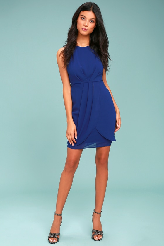 Chic Royal Blue Dress - Sheath Dress - Sleeveless Dress - Tulip Dress
