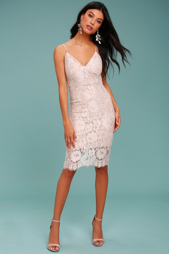 Stunning Blush Dress Lace Dress Midi Dress Lace Midi Dress