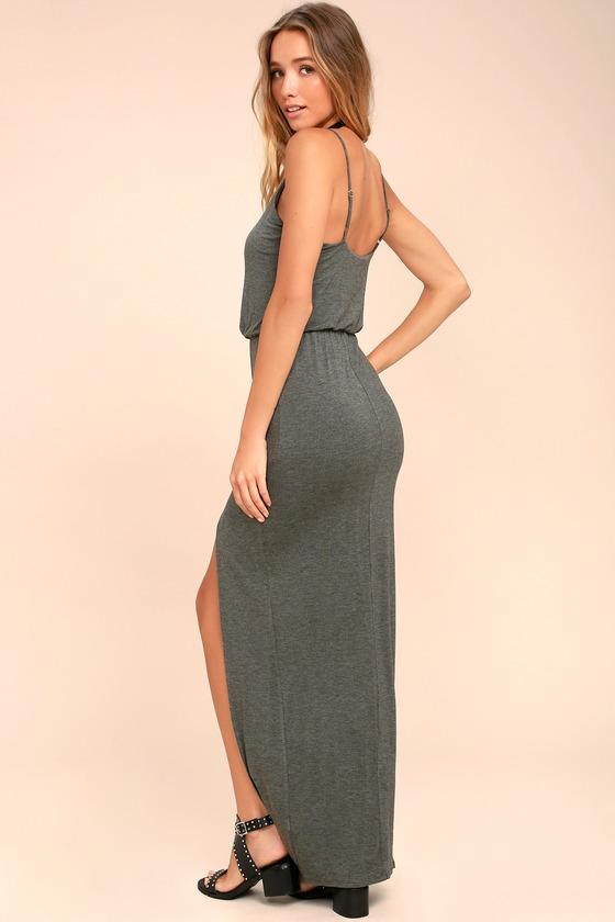 Cute Dark Grey Dress Maxi Dress Sleeveless Maxi
