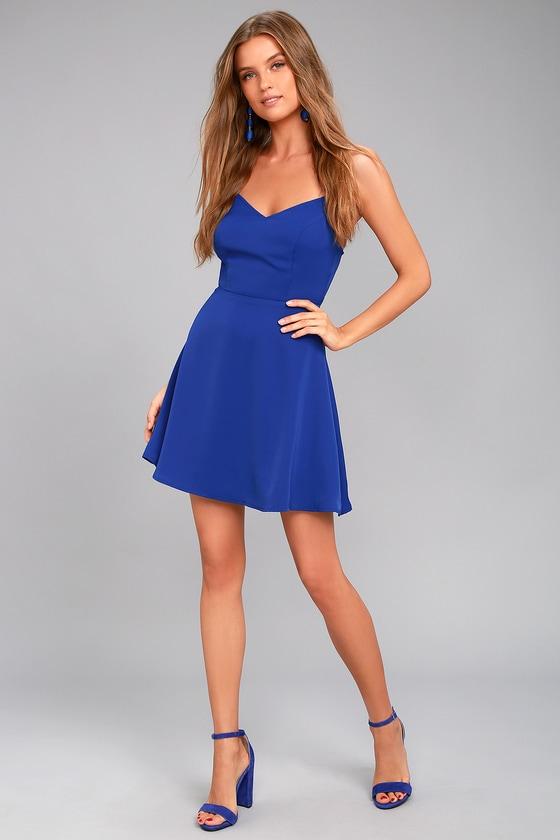Cute Royal Blue Skater Dress Backless Dress Skater Dress
