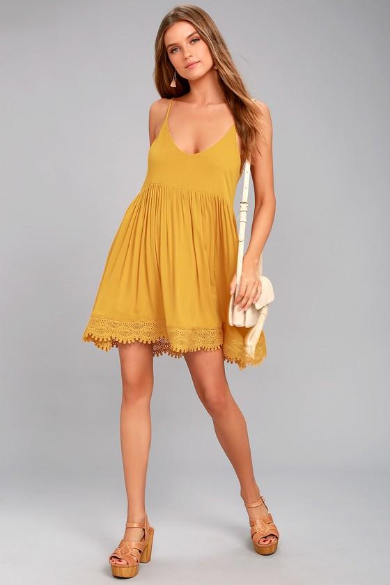Fun Mustard Yellow Dress Babydoll Dress Lace Dress