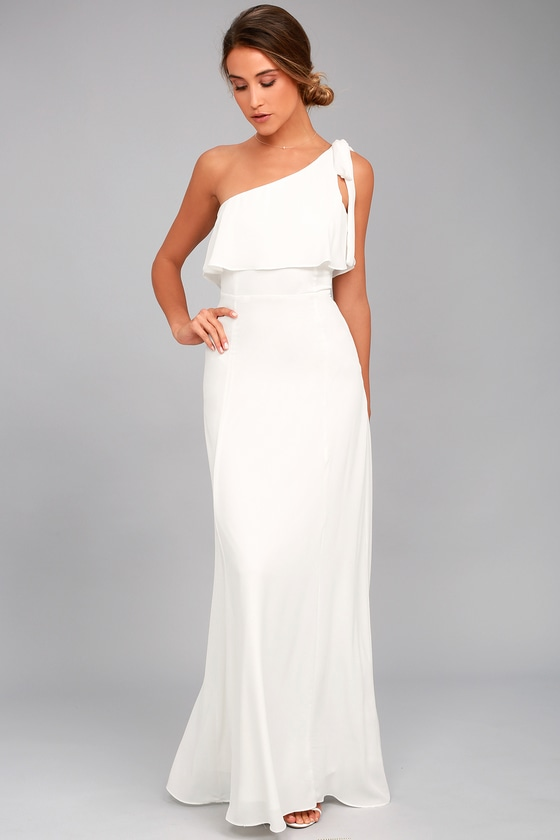 Lovely White Dress - One-Shoulder Maxi Dress - Maxi Dress