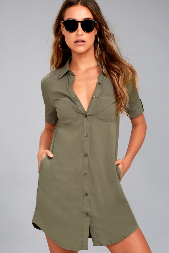 Cute Olive Green Dress Shirt Dress Button Up Dress