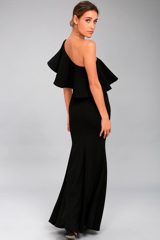 Lovely Black Dress One Shoulder Dress Maxi Dress