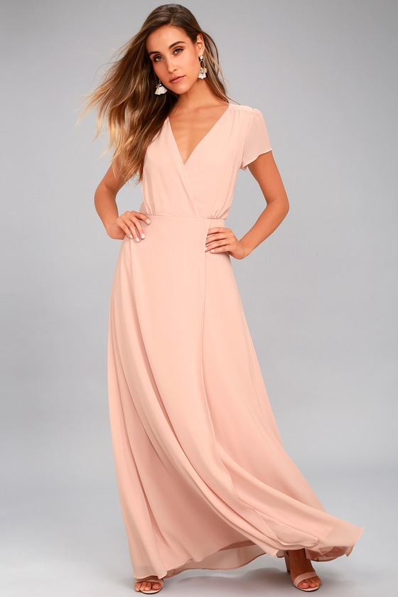 Lovely Blush Dress - Maxi Dress - Short Sleeve Dress - $94.00