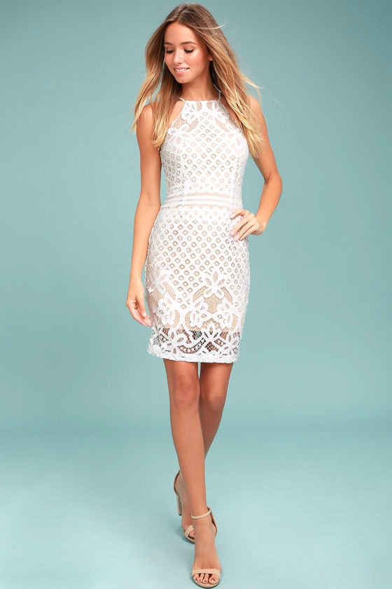 Lovely White Dress - Lace Dress - Sheath Dress - White Lace Dress