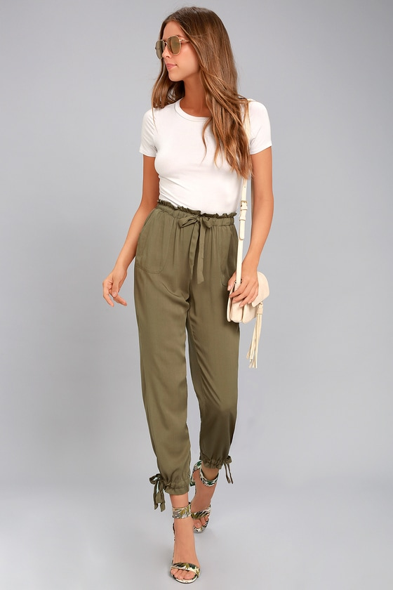 Chic Olive Green Pants - Casual Pants - Drawstring Pants 21727bcc5