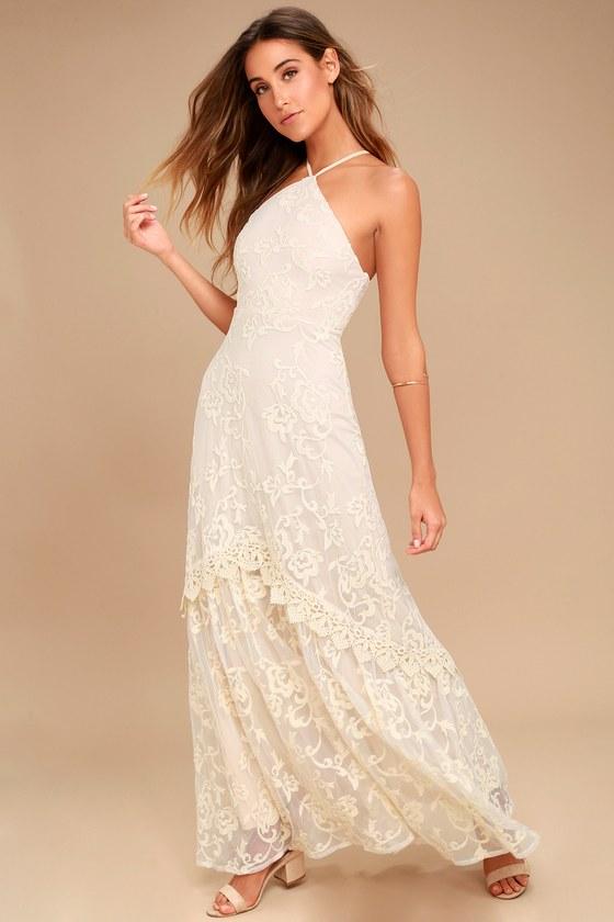Elegant Lace Dress - Cream Maxi Dress - Crochet Lace Dress