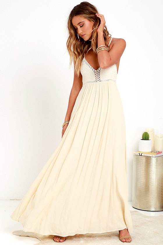 Hippie Chic Cream Maxi Dress