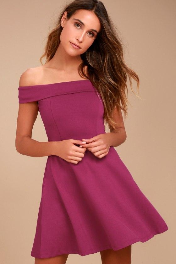 9d2a925c7907 Cute Magenta Dress - Off-the-Shoulder Dress - Skater Dress